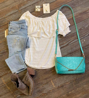 white off shoulder top smocked sleeves