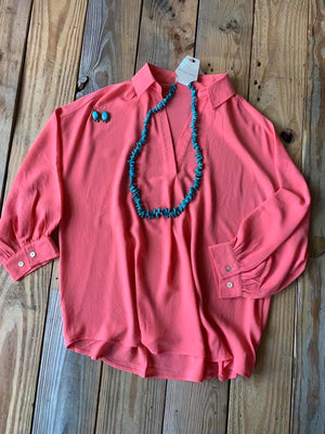 Coral Collared Vneck Blouse
