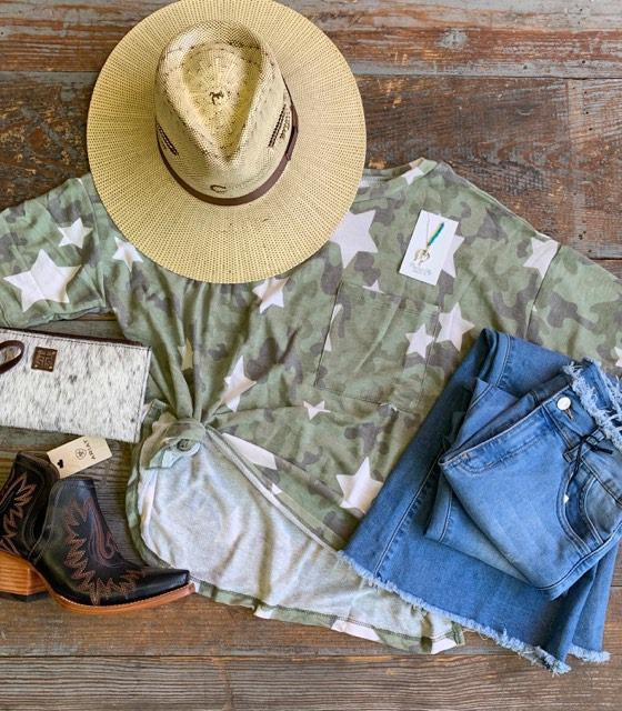 Camo Star Pocket Top