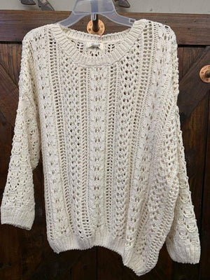 Reese: cream open weave sweater