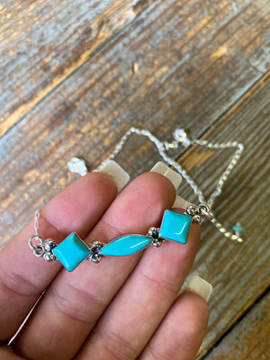 Turquoise and Sterling Triple Stone Necklace