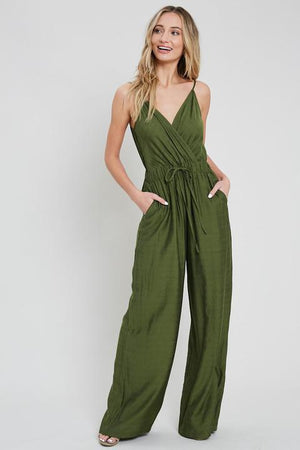 Olive sleeveless jumpsuit