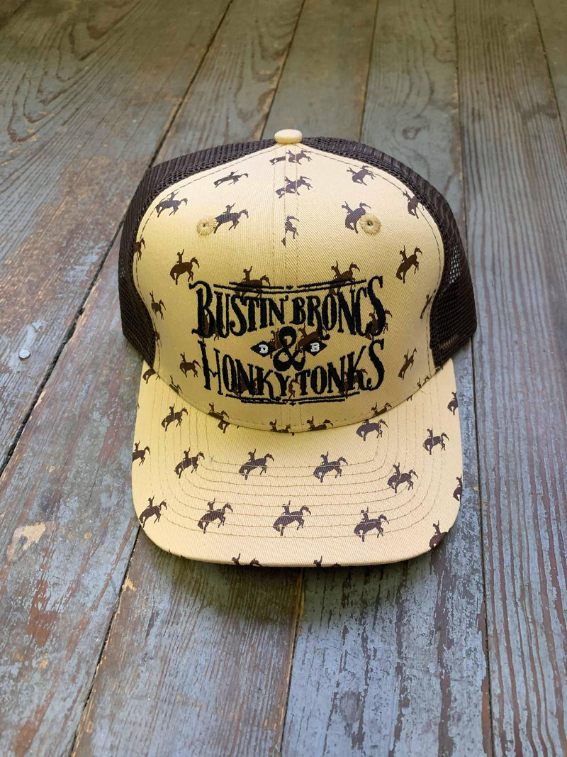 Tan Bustin Broncs and Honky Tonks rodeotime cap
