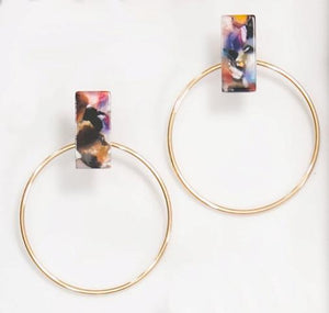 Multi-Color Acrylic Stud Earrings with Gold Hoop- Ariel's Promise