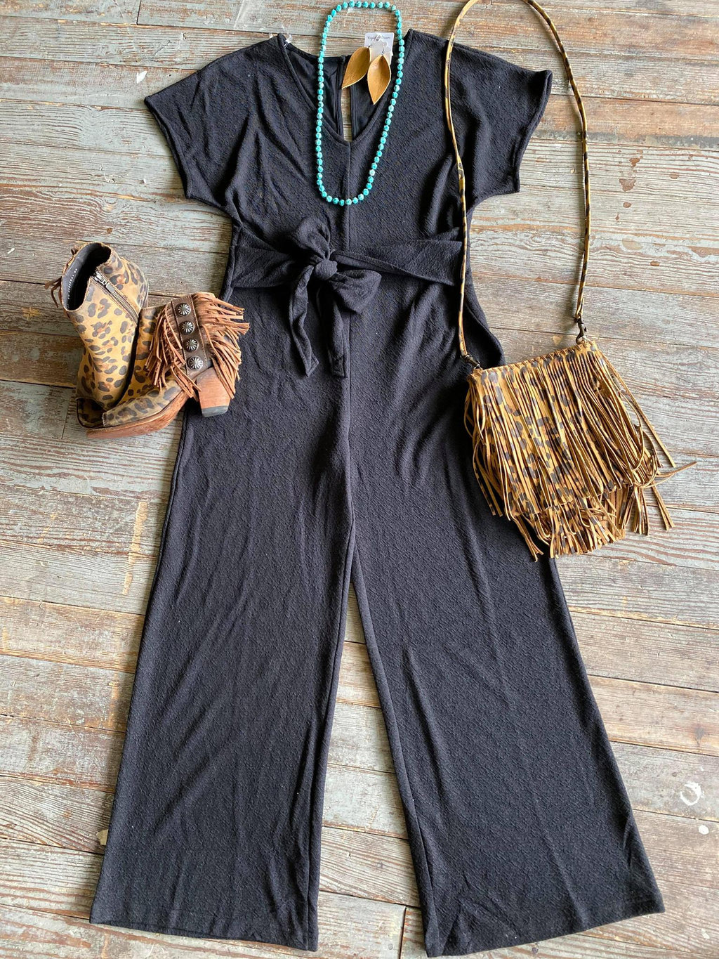 V Neck Cropped Jumpsuit -Black