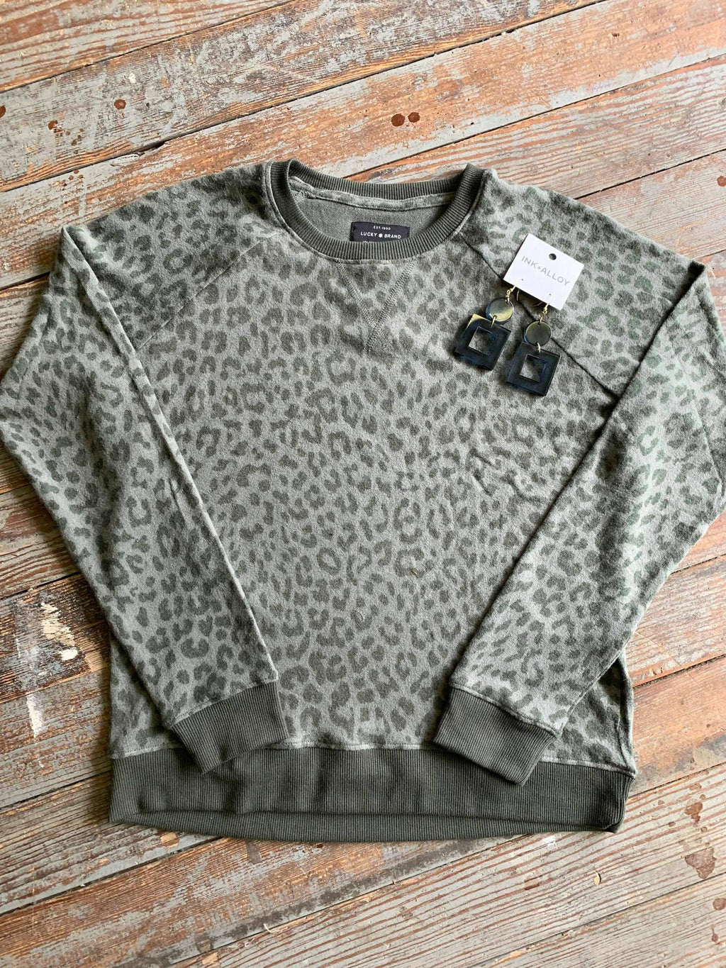 Lucky Brand Olive Leopard Pullover