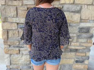 Navy Dot Blouse with Back Ruffle Detail