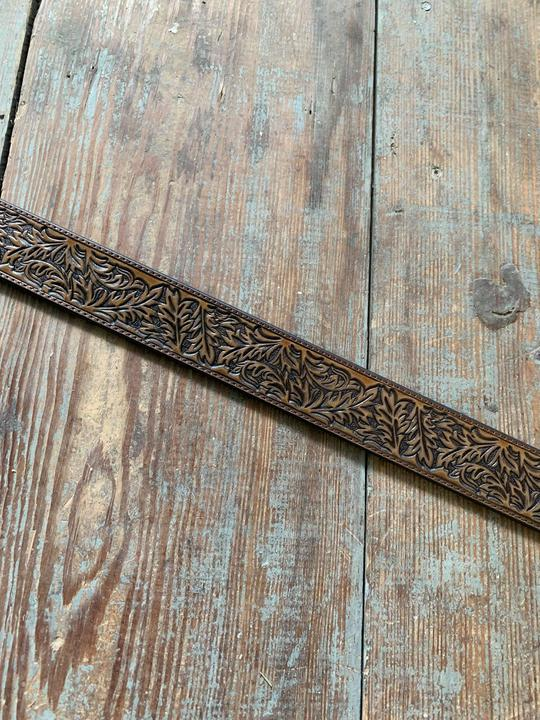1914BE tooled pecan belt