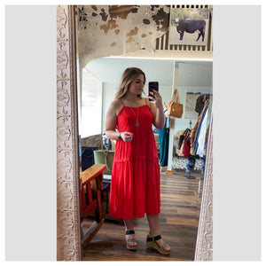 Red Tiered Midi Dress