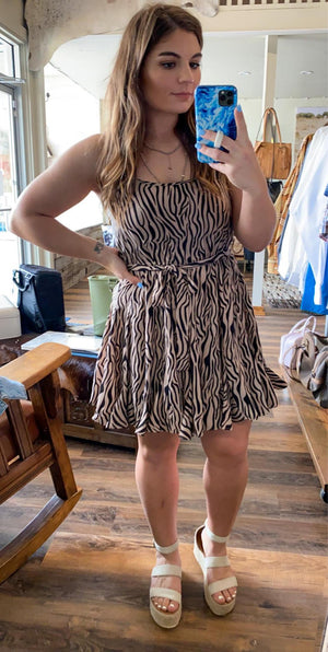 Zebra Flutter Hem Dress