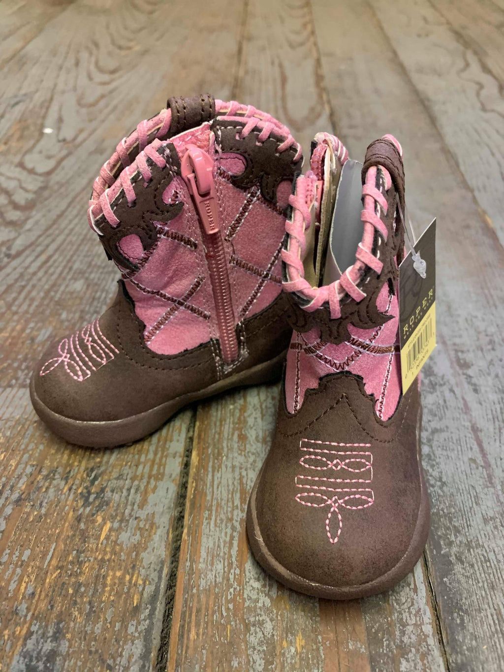 Pink and Brown Cowbaby boot