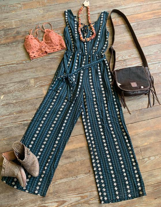 Sleeveless sw jumpsuit-teal