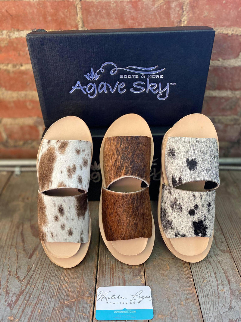 Agave Sky Cowhide Slides- 3 colors
