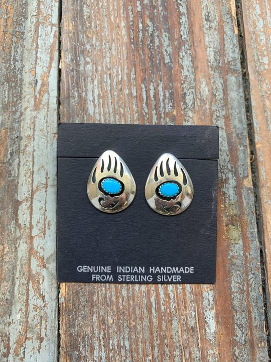 bear claw turquoise and sterling stud earrings