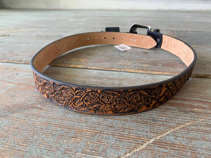 1654BE4 tooled belt with blue stitching