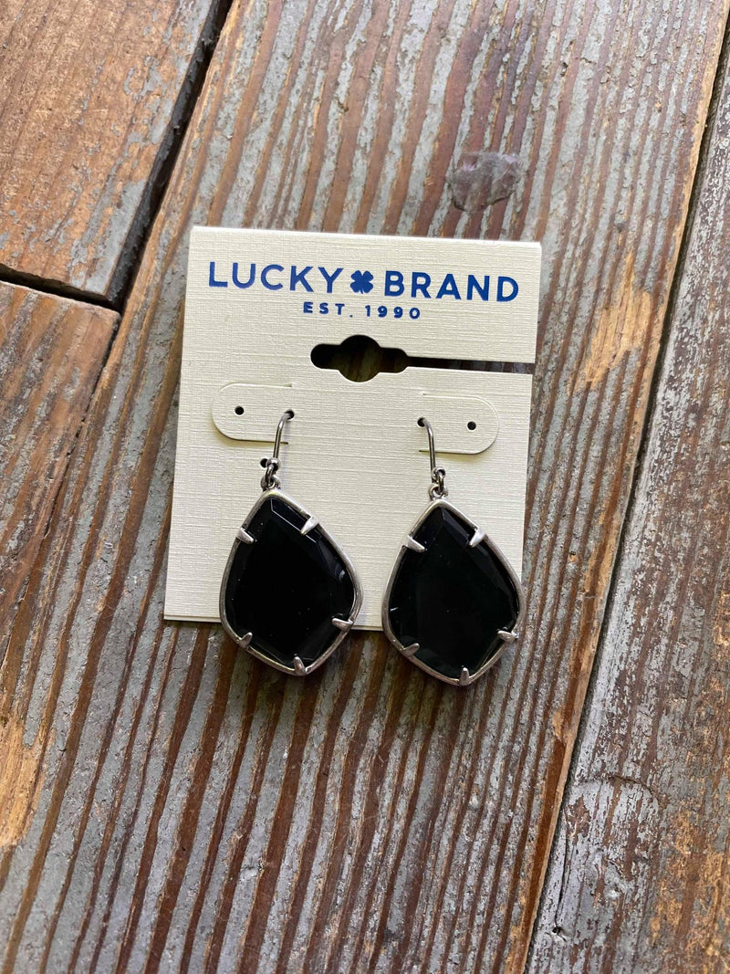 JWEL3806 Black Teardrop Lucky Earrings