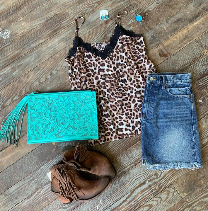 leopard and lace camisole