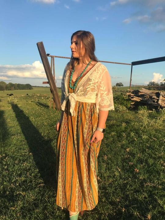 mustard southwestern maxi dress