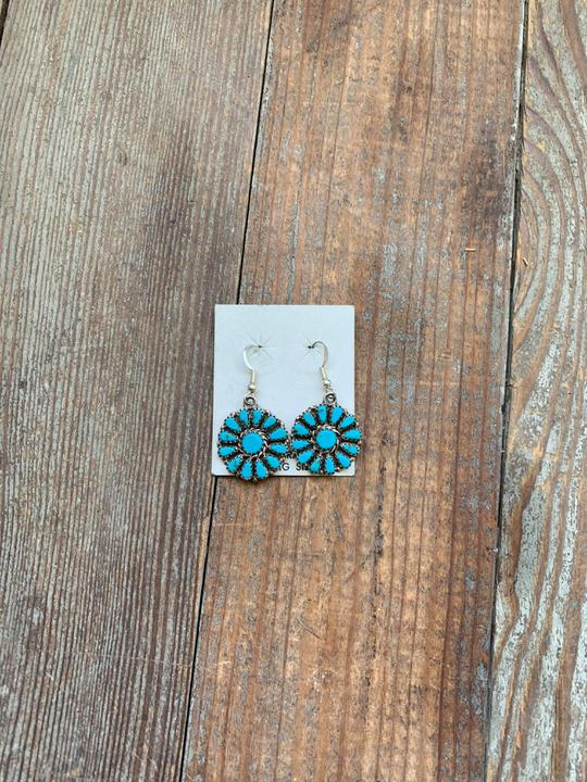 Turquoise and sterling floral drop earrings