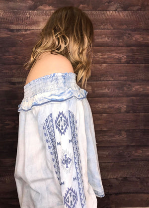 denim off shoulder top with embroidery