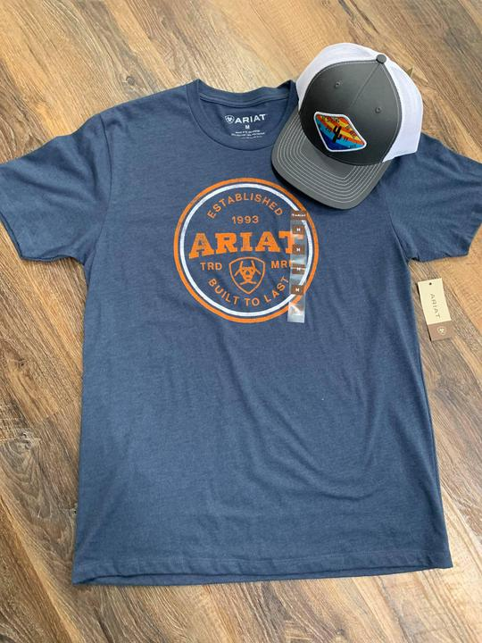 Ariat orange logo tee