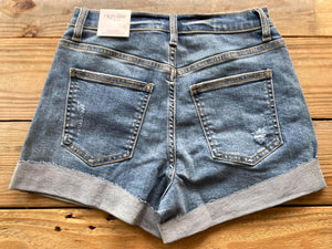 Distressed High Rise Cuffed Shorts