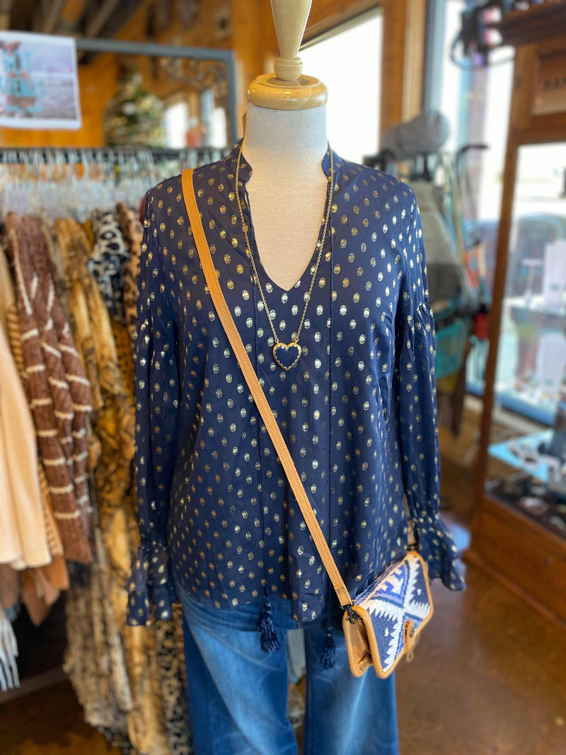 Navy Top with Gold Polka Dots