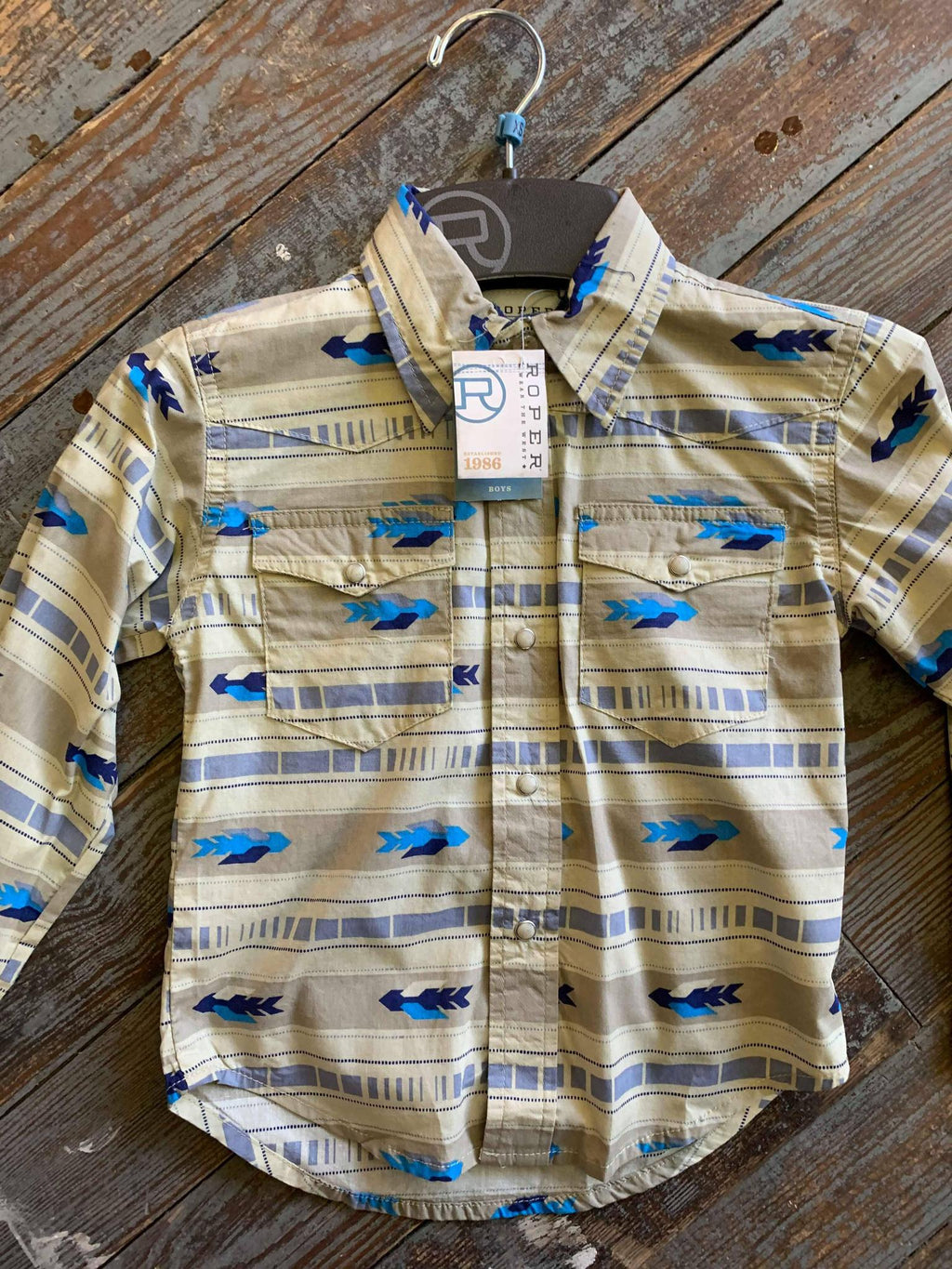 Boys Tan and Turquoise Retro Shirt