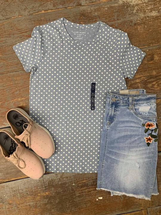 Lucky Brand light blue polka dot tee