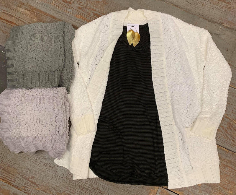Cable Popcorn Cardi with pockets