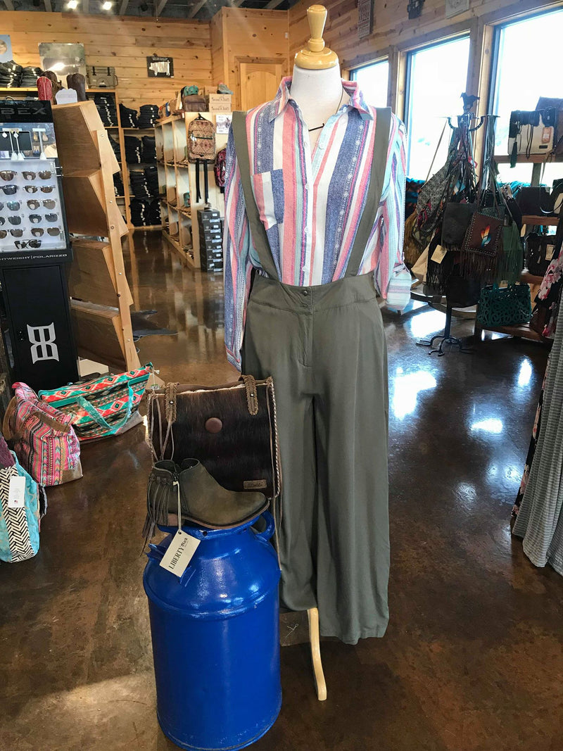 Wide Olive Overall Pants
