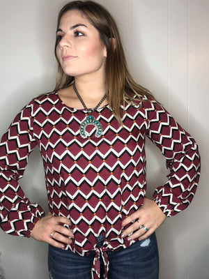 Geometrical Print Long Sleeve Top W/ Front Knot
