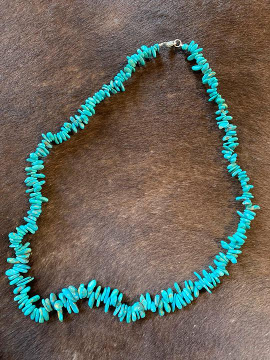Turquoise necklace genuine stone/sterling hardware