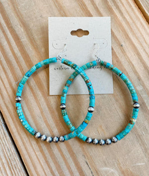 Navajo Pearl and Turquoise Drop Hoop Earrings