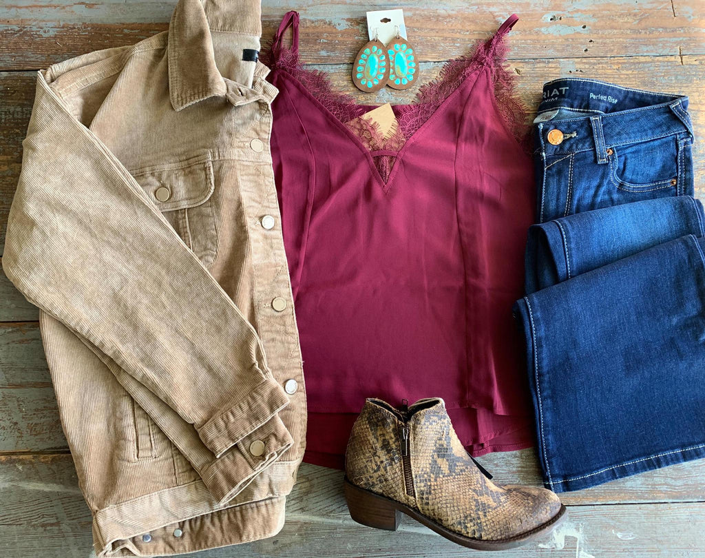 Burgundy Lace Lined Tank