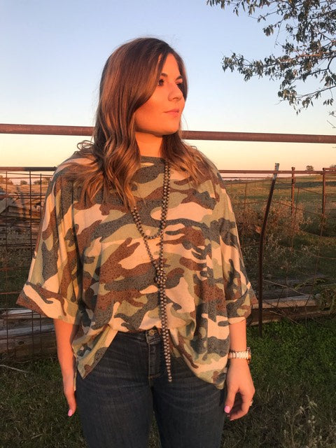 Camo Top with Folded Sleeves