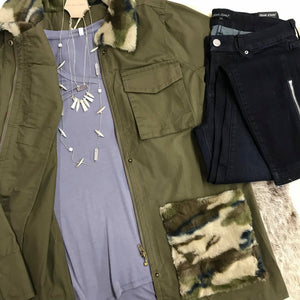 Olive Jacket with Camo