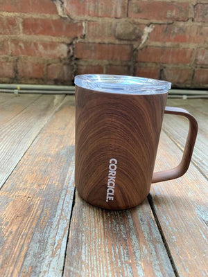 Corkcicle 16 oz mug wood grain