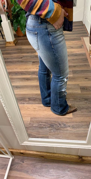 Distressed Bootcut Jeans