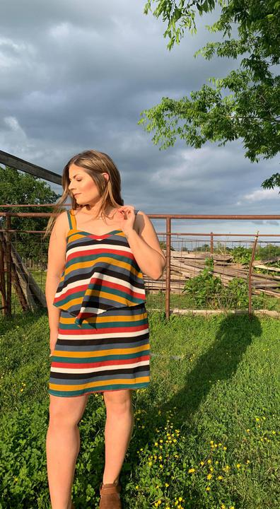 Multi Stripe Layered Dress