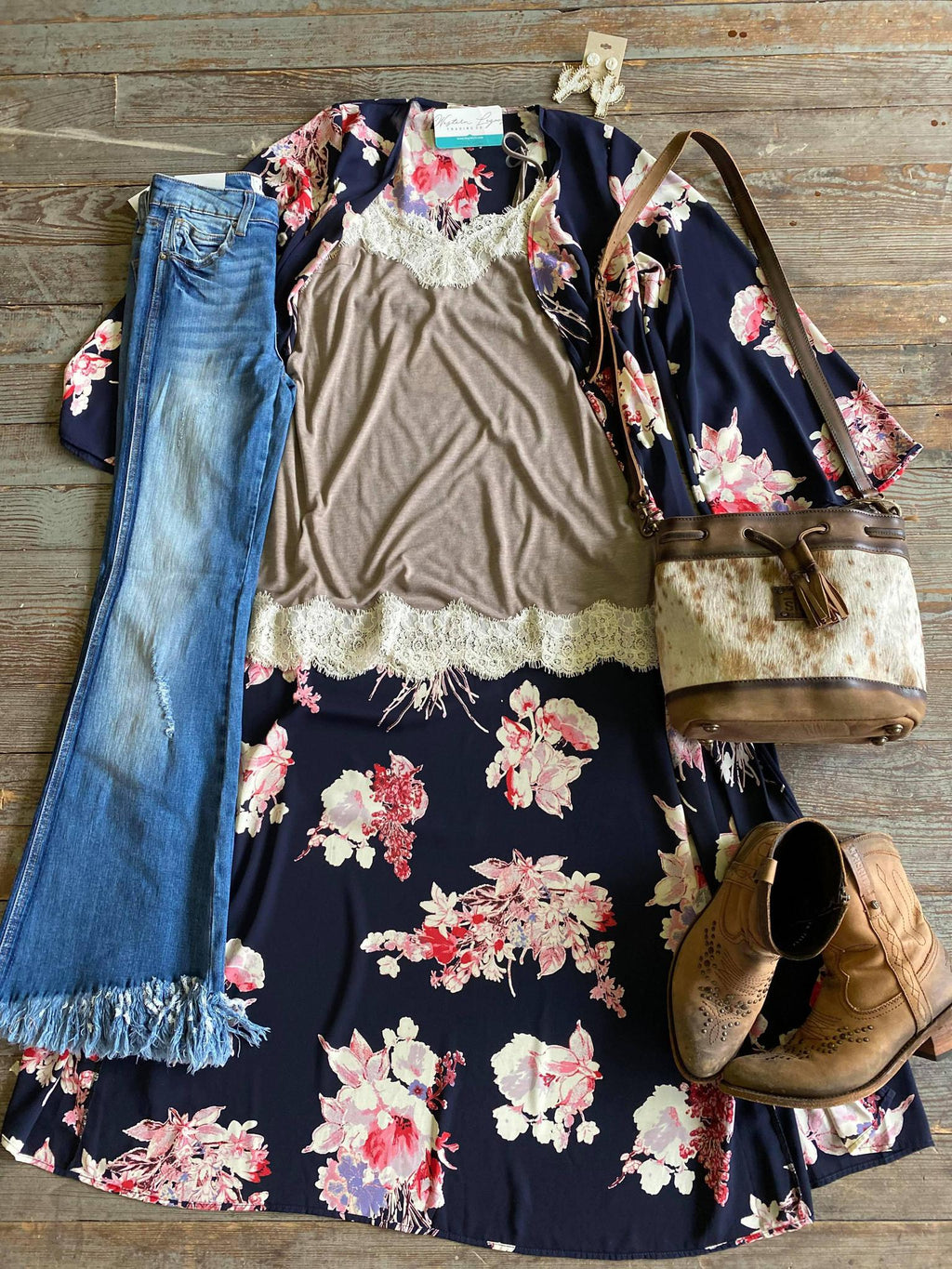 Pink and Navy Floral Duster