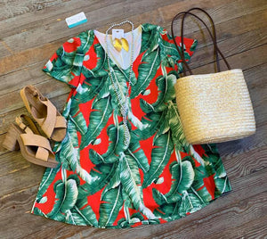 Paia Palm Leaf swing dress