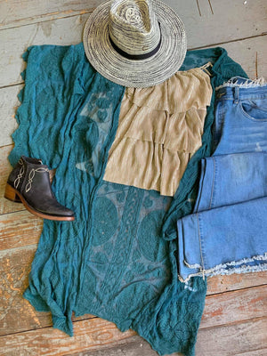 Bell Sleeve Lace Kimono-Teal
