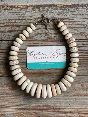 White Buffalo and Sterling Round Stone Necklace