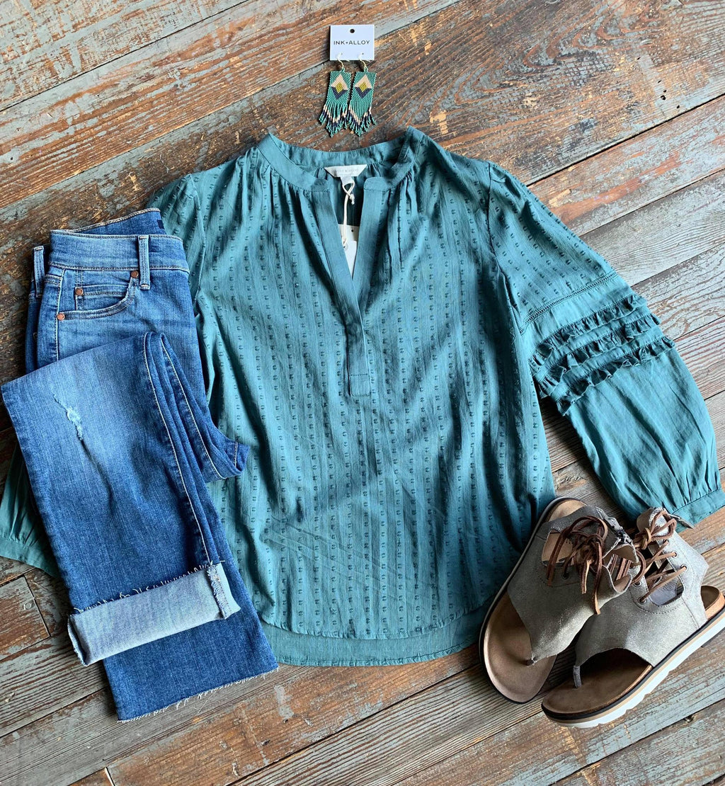 Teal Swissdot top Lucky Brand