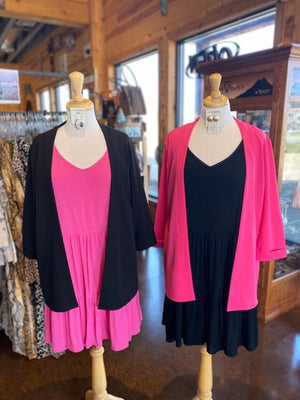 Cuffed 3/4 Sleeve Blazers- black and pink