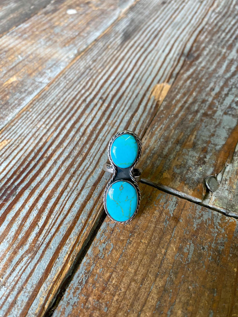 Turquoise and Sterling Double Stone Adjustable Ring