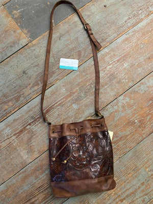 tooled bucket bag