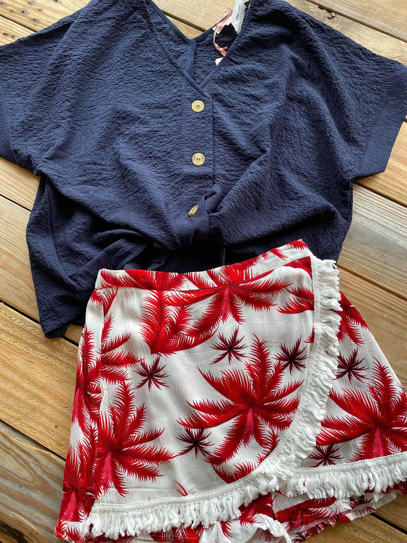 Red Palm Tree Skort