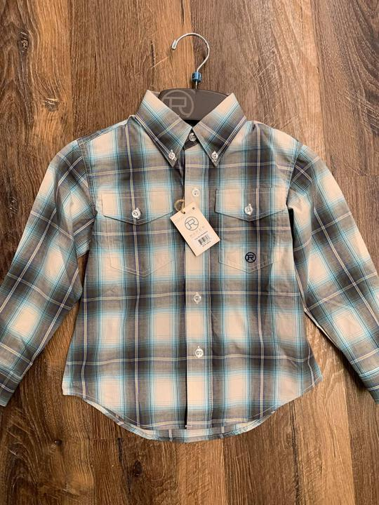 6064GR boys plaid button up